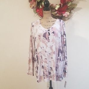NWT Dana Buchman Pink Floral Top Sz XL